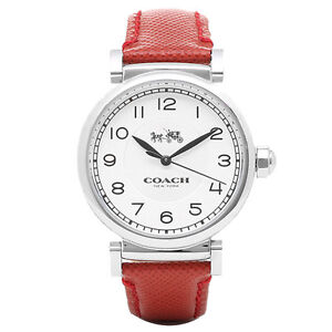 09fd2339a44 BRAND NEW COACH 14502407 MADISON SILVER STEEL CASE RED LEATHER BAND ...