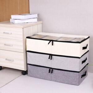 Large-Foldable-Canvas-Storage-Box-Fabric-Clothes-dust-proof-Organiser-Lid-gous