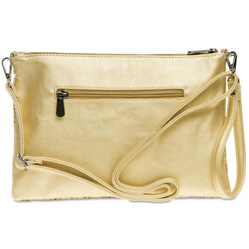 CASPAR TA341 Large Women Clutch Evening Bag Modern Glitter Sequin Wrist Band New