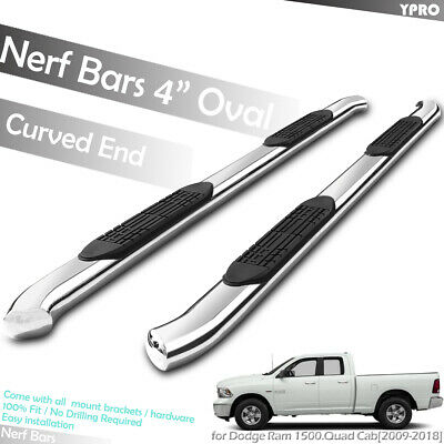 "5/"" S//s Oval Side Steps For 2009-2018 Dodge Ram 1500 Crew Cab Running Boards"