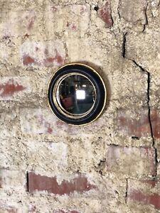 Glace-miroir-rond-034-new-034-noir-et-patine-dore-avec-oeil-de-sorciere-diam-15-cm