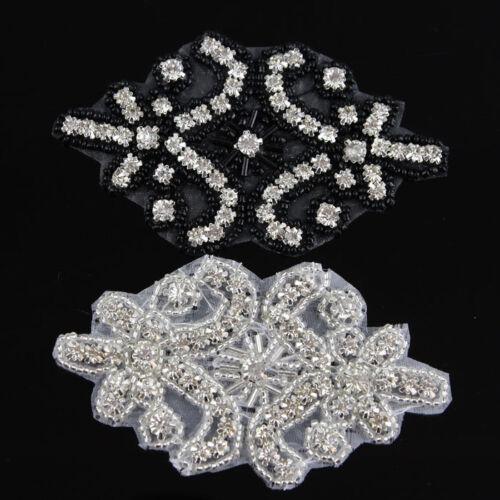 1 Stk Silber schwarz Strass Spitze Rheinkiesel Borte Kleidung Hochzeit verzieren