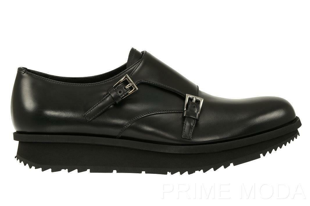 NEW PRADA MILANO CURRENT MONK STRAP BLACK LEATHER  MODERN SOLE SHOES 9/US 10