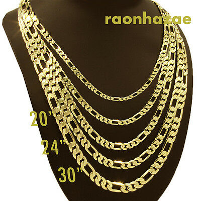 """Men/'s Italian Figaro Link Chain Necklace 7mm wide 20/"""" 24/"""" 30/"""" 14K Gold Plated"""