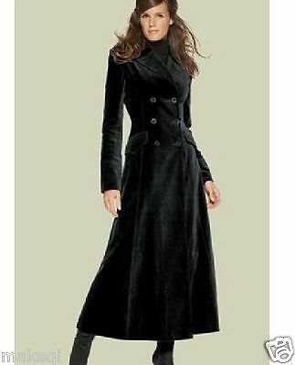 Women's Slim Fit Long Coat Lapel Double Breasted Wool Blend Overcoat Black