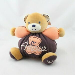 Doudou-ours-marron-orange-Amour-Sweet-Life-KALOO-Ours-Classique