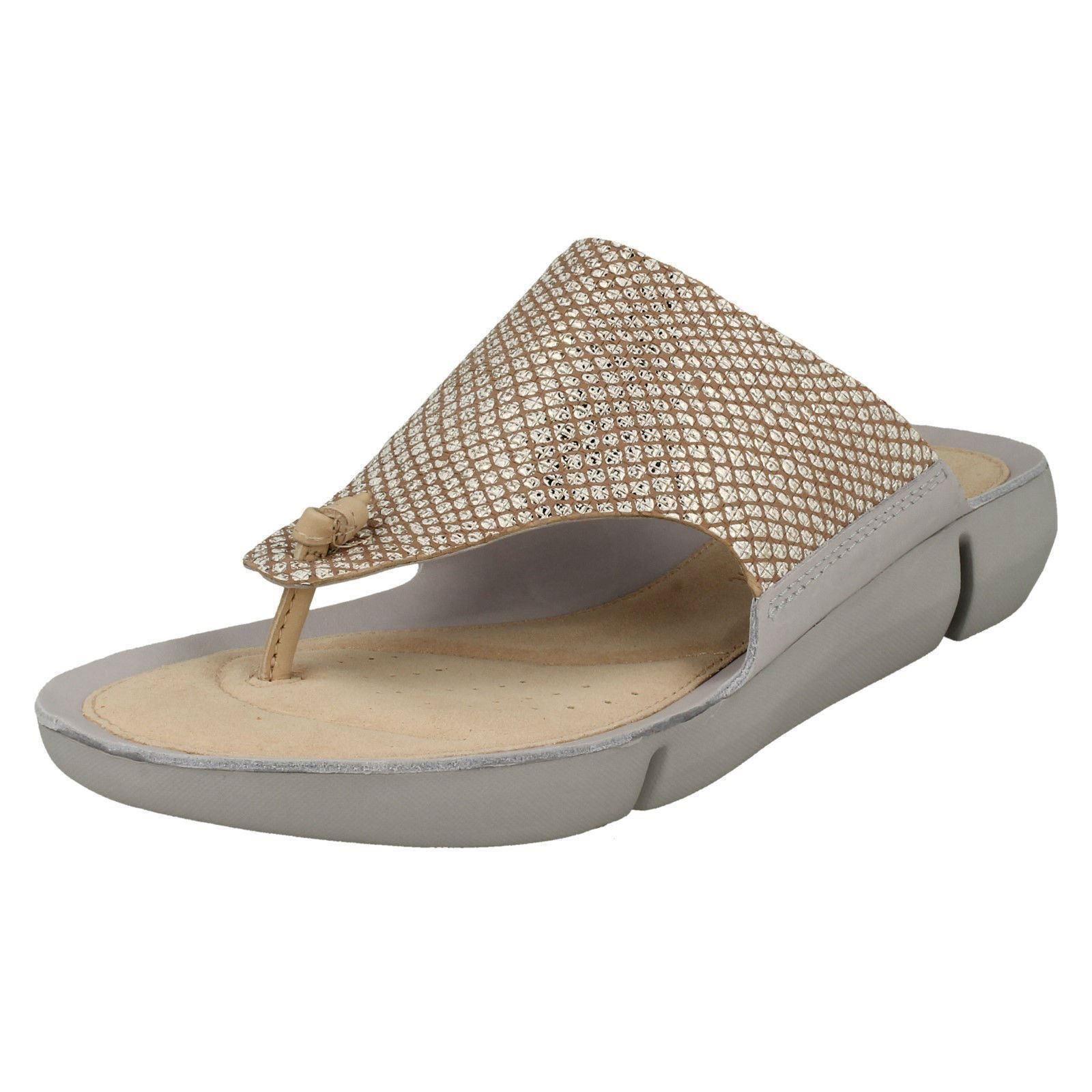 Ladies Clarks Tri Carmen Metallic Leather Toe Post Mule Sandals - D Fitting