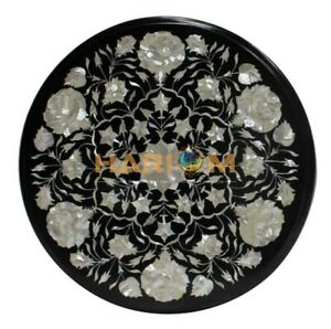 """16"""" Black Marble Coffee Table Top Mother of Pearl Stone Inlay Decors Gifts B214"""