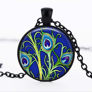 Peacock garden black glass cabochon necklace chain pendant wholesale image is loading peacock garden black glass cabochon necklace chain pendant aloadofball Gallery