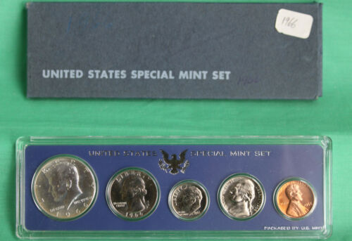 1966 US Special Mint Set SMS 5 Coins with 40/% Silver Kennedy Half Dollar and Box