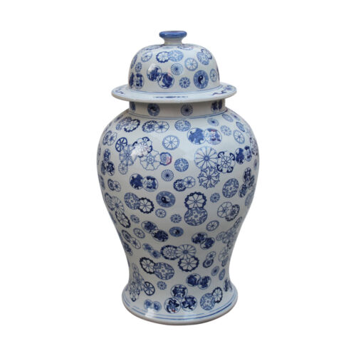 "Blue /& White Large Porcelain Ball Flower Motif Temple Jar Ginger Jar 21/"" Tall"