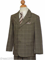 Boys Easter, Recital Suit Set ,taupe/ivory Checkers, Size: 5 To 20