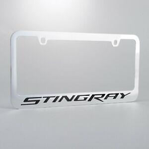 100/% Real Carbon Fiber 2005-2013 C6 Corvette Gray Script w//Double Logo License Plate Frame