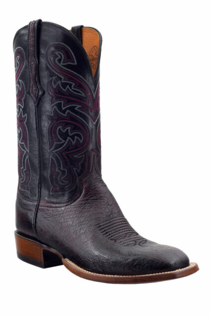 595c265ad48 Lucchese Mens Cowboy Boots Black Cherry Smooth Ostrich CL1015.W8