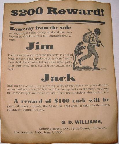 runaway slave reward poster 1860 repro slavery civil war era wanted