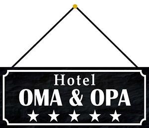 Hotel Oma & Grandpa Tin Sign Shield with Cord Metal 10 X 27 CM K0107-K