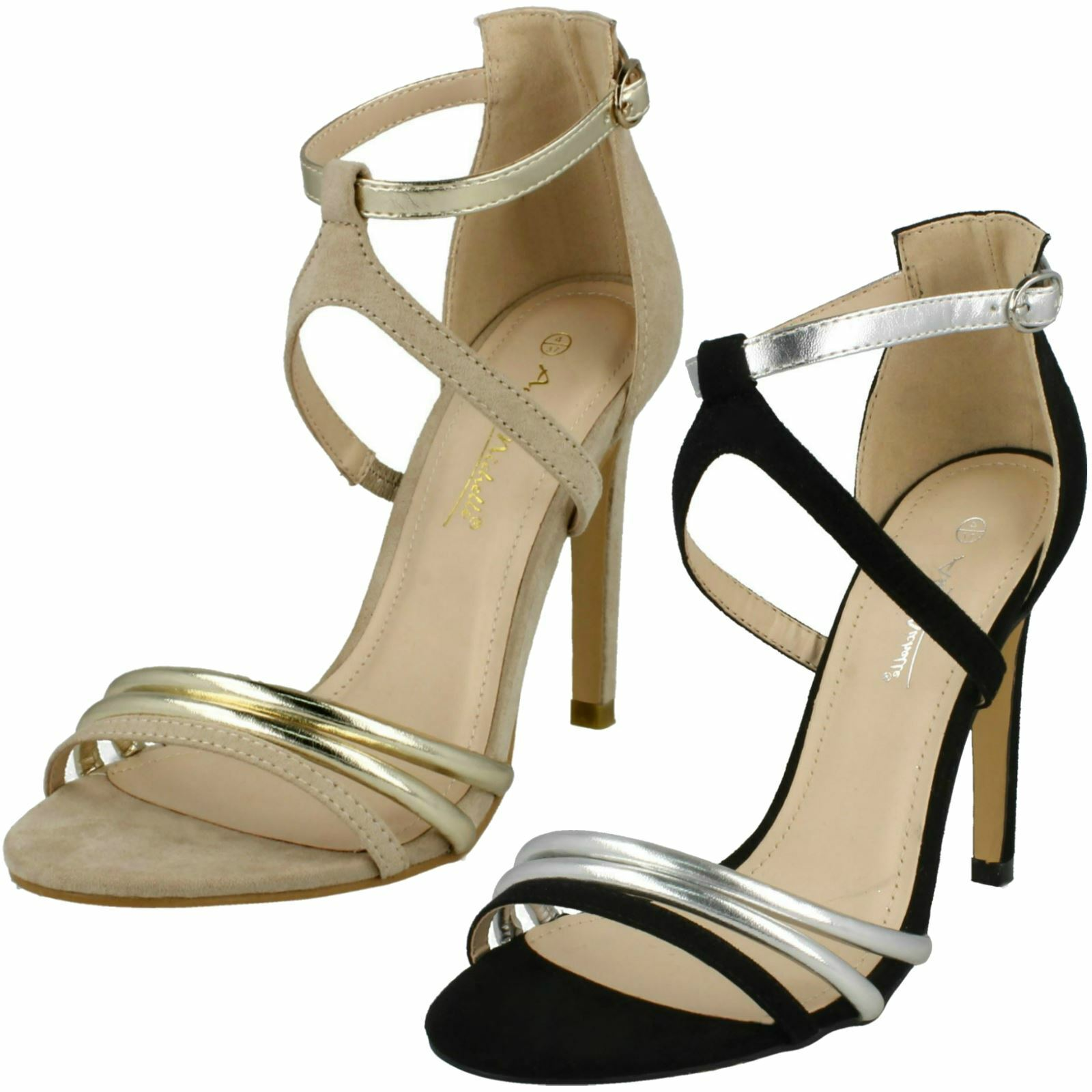 Ladies Anne Michelle High Heel Strappy Mule 'Sandals'