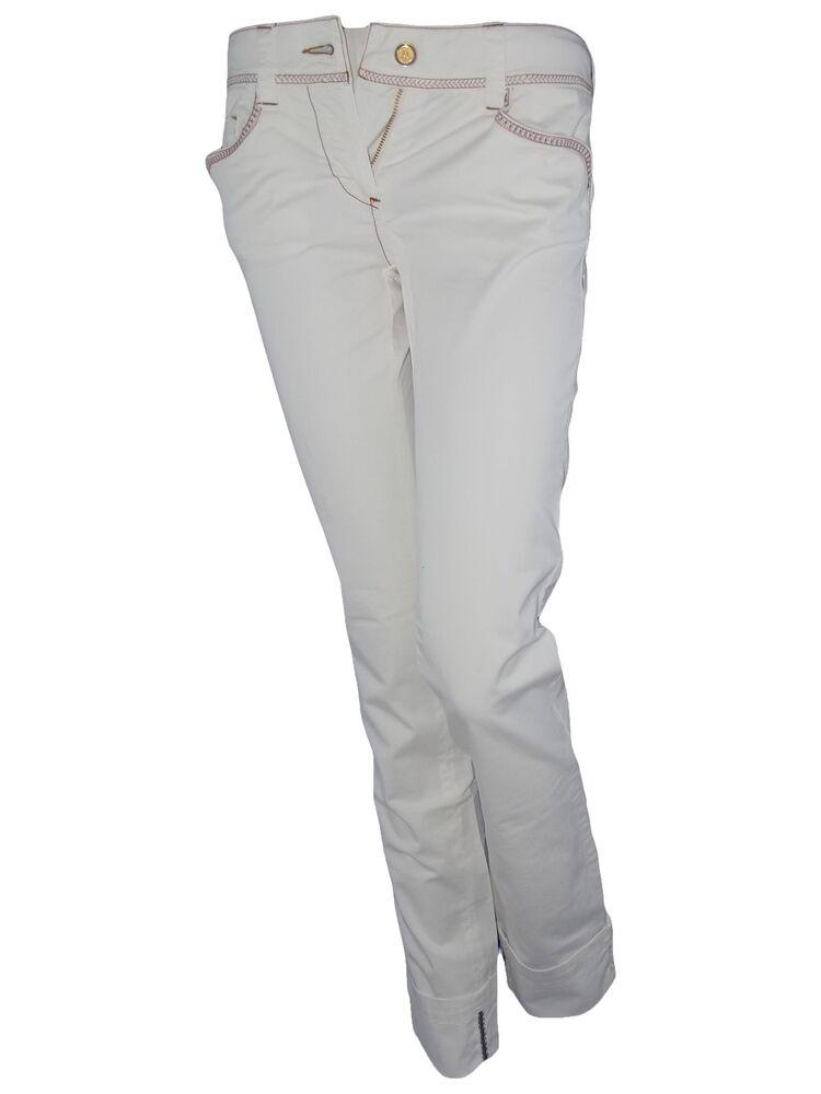 Alysi Pantalone Donna Bianco Gabardina P/e Dritto Taglia It 40 41 W 26 27