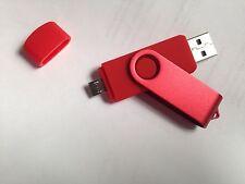 Rojo 1GB USB 2.0 y Micro USB Flash Pen Drive Tarjeta de memoria micr clave de pulgar rotativo