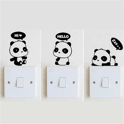 3 Panda DIY Switch Sticker Wall Quote Wall Stickers Vinyl Mural Decor Decals