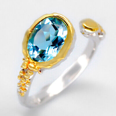 RVS217 Fineart Jewelry Natural Blue Topaz 8x6 mm.925 Sterling Silver Ring