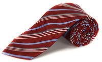 Geoffrey Beene Men's Satin Stripe Neck Tie Deep Red / Blue Grey White Retail $55