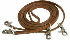Showman Argentina Cow Leather Fine Draw Reins 11ft Long W/scissor Snaps