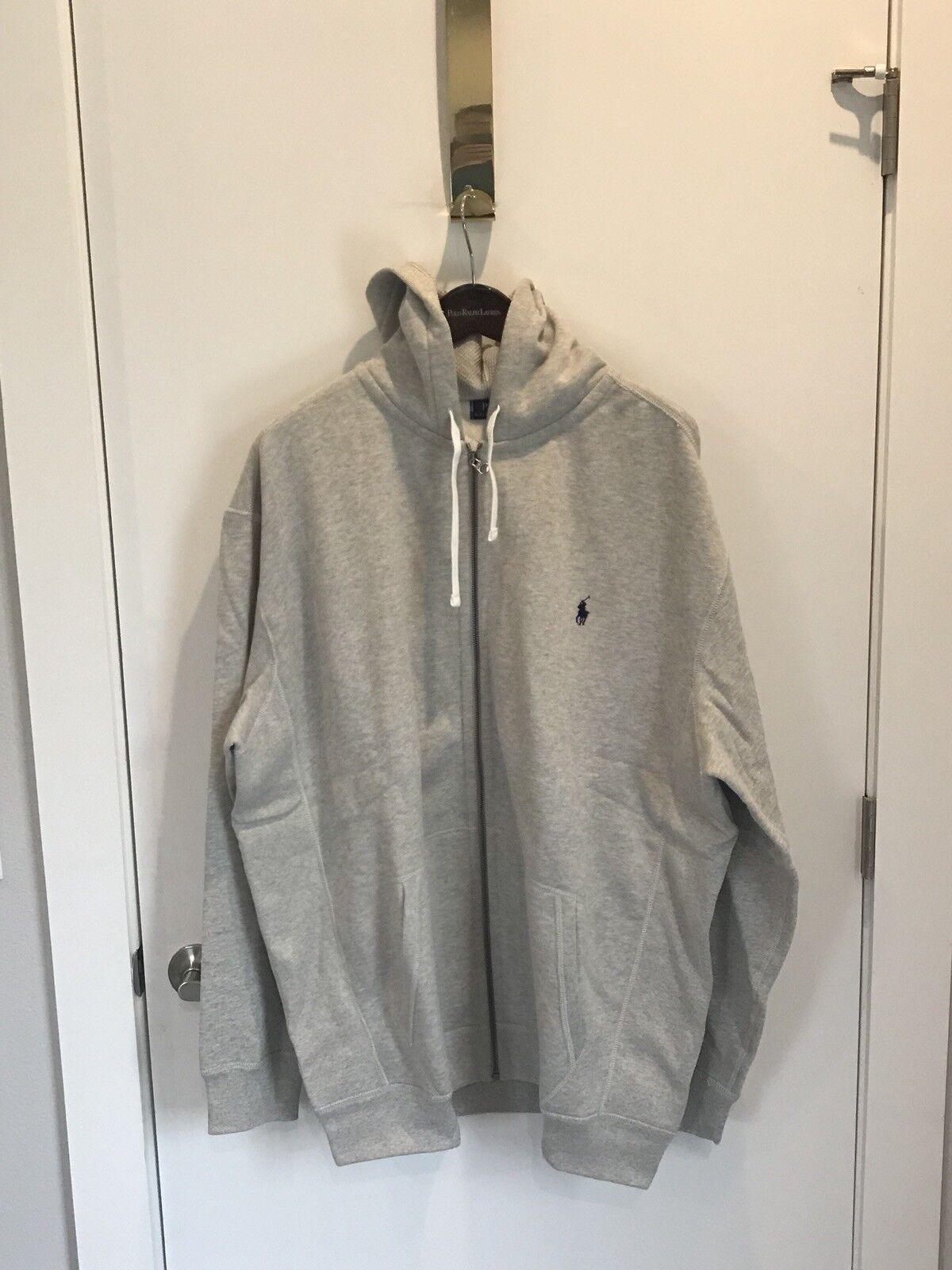 NEW Polo Ralph Lauren Uomo's Gris Polo Zip Full Zip Polo Hoodie Sweatshirt 3XB 400832