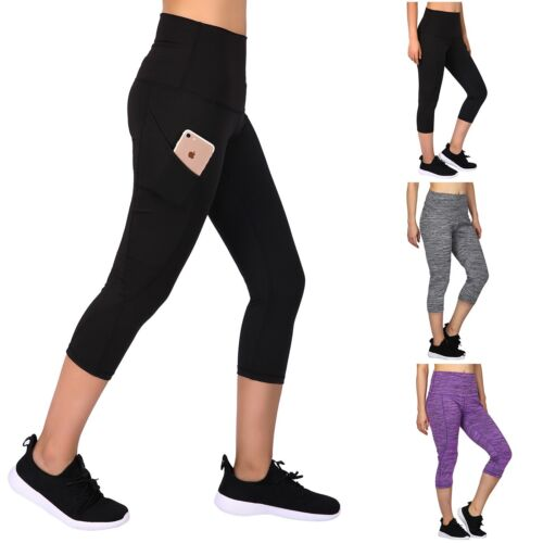 Capri Leggings Yoga Pants for Women Pocket High Waisted Workout 3//4 Below Knee