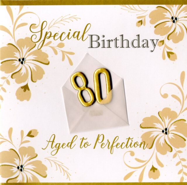 Special 80th Birthday Greeting Card Hand Finished Notting Hill Cards