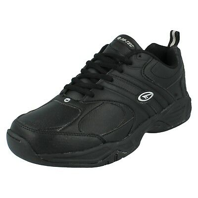 Herren Hi Tec schwarzes Leder Freizeit Wandern Joggen Fitness Turnschuhe Schuhe