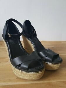 NEW-Mango-Black-leather-shoes-UK-5-EU-38-wedge-espadrilles-peep-toe-5-034-heel