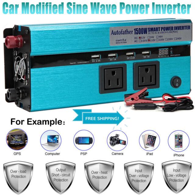 1500w 3000 Watt Peak Power Inverter DC 12v to AC 110v Car Truck RV Pickup  4wd