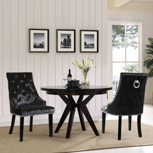 2/4X Ice Velvet Dinning Chair Button Back Ring Studded Coffee Shop Accent Chairs