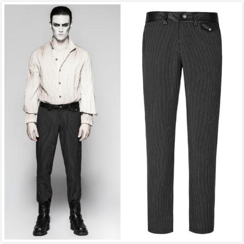 Punk Rave K-287 Mens Black Gothic Steampunk Victorian Pinstripe Pants Trousers