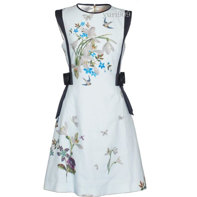 64990f8ff1814 Ted Baker London Light Green Sipnela Spring Meadow Bow Dress Size 2 (US 6)