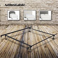 Metal Bed Frame Adjustable Twin Full Queen Size w/ Roller Heavy Duty