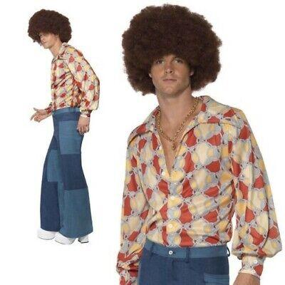 Adulto Anni 70 Uomo Patchwork Pantaloni Solo Denim Svasato Disco Vestito M L