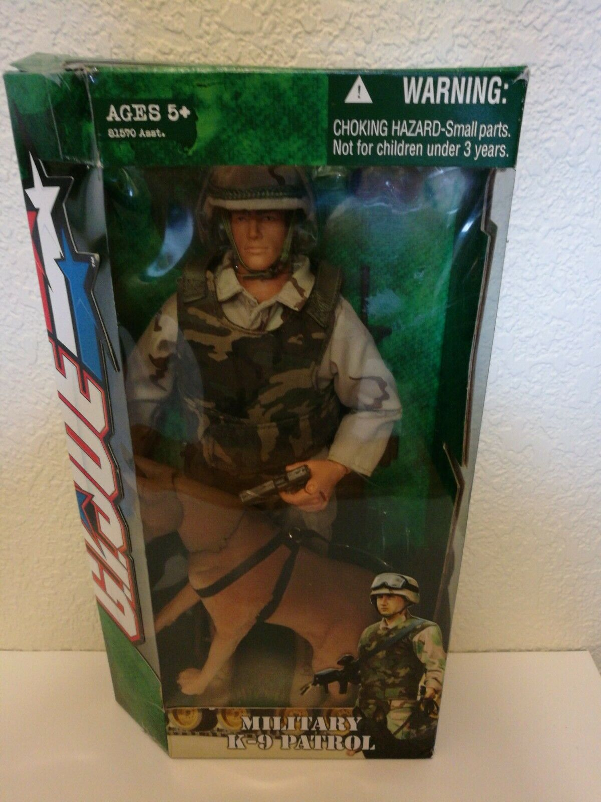 2004 Gi Joe patrulla militar K-9 con marrón pastor alemán Hasbro G.i Joe
