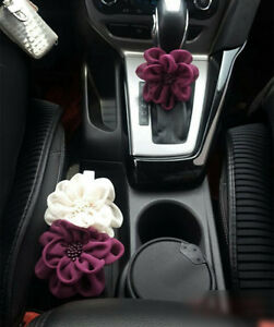 Image Is Loading Car Accessories Interior Decoration DIY Flower Cream Purple