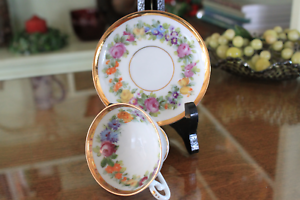 Meissen White Porcelain Cup and Saucer with Floral and Gold Trim