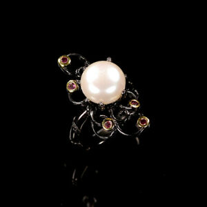 Pearl Ring 925 Sterling Silver Size 8.75 /RT19-0064