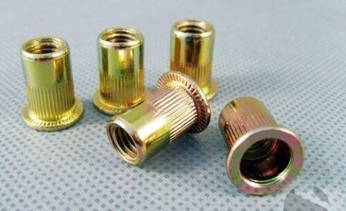 Qty 200 M4 Large Flange Nutserts Zinc Plated Steel Rivet Nut Rivnut Nutsert