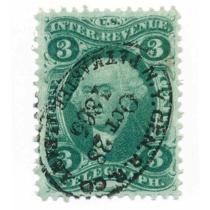R19c 3 cent First issue, Telegraph, NY Central RR cance