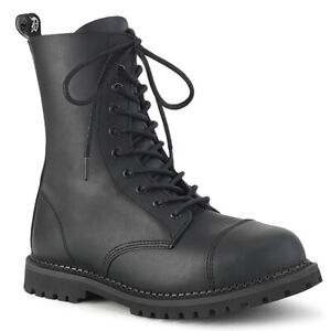 Demonia RIOT-10 Mens Combat Punk Biker Goth Minecraft Steel Toe Ankle Boots