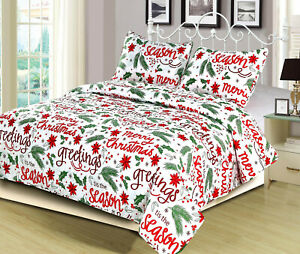 Holiday-Quilt-Bedding-Bed-Set-Christmas-Winter-Script-Red-and-Green