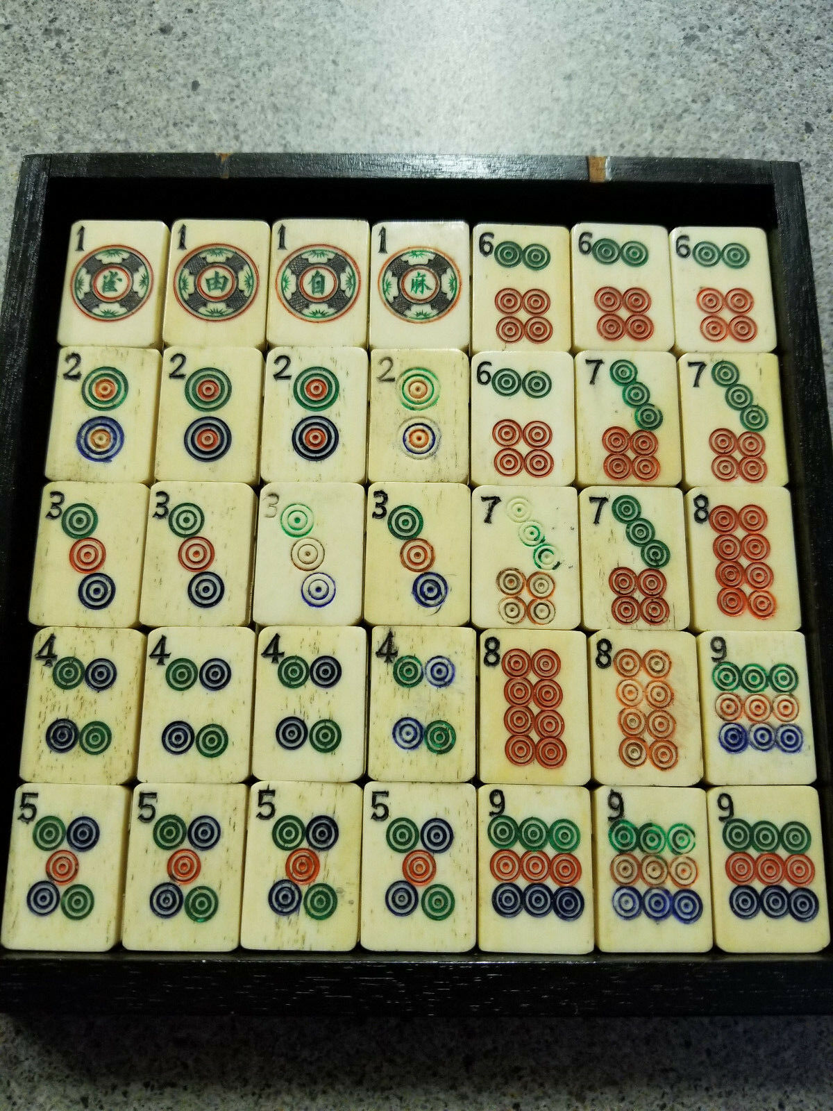 35 Tjock Bone Bamboo Mah Jong Jong Tiles