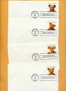 Teddy-Bears-Set-of-4-No-Cachet-2002-first-day-covers-Great-for-Artist-LOT-789