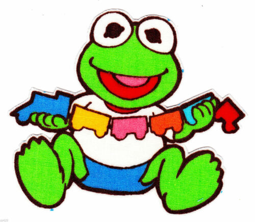 "2.5/""-5.5/"" Muppet babies baby kermit the frog heat transfer iron on character"