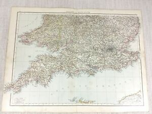 1898 Antik Map Of England Wales South Coast 19th Century Viktorianisch Original